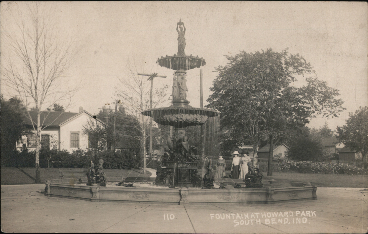 Photo of the Studebaker fountain original in Howard Park in South Bend